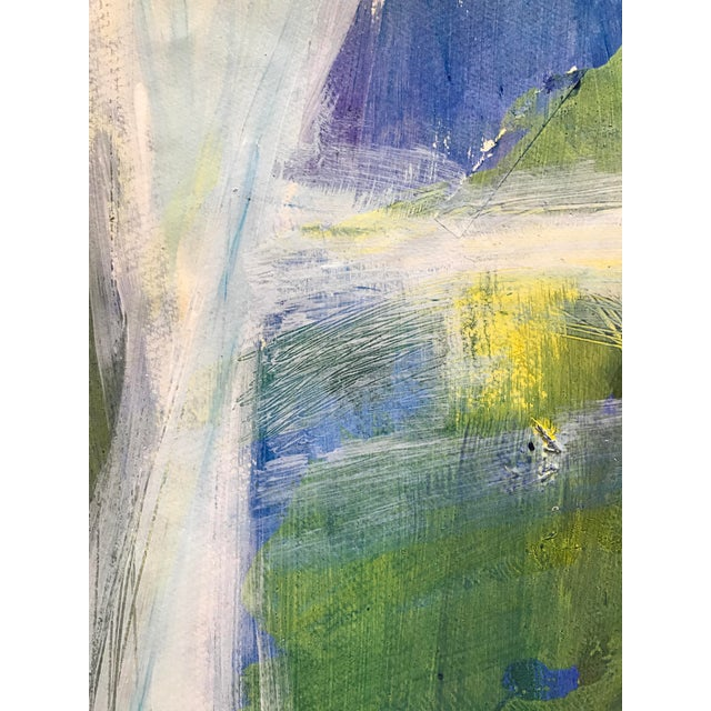 """1980s 1980s Patricia Zippin Abstract Mixed Media Painting """"View Through the Window"""" For Sale - Image 5 of 6"""
