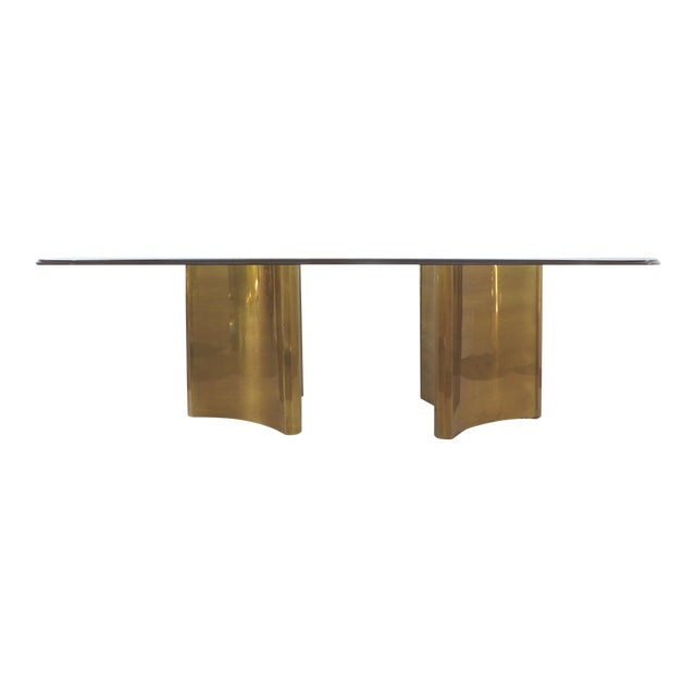 "Mastercraft Double Pedestal Brass ""Trilobi"" Dining Table With Ogee Beveled Glass For Sale"