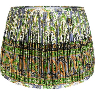 Green/Mustard/Steel Blue Silk Sari Lamp Shade For Sale