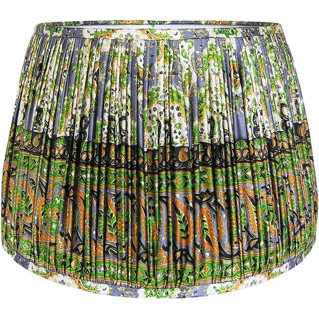 Green/Mustard/Steel Blue Silk Sari Lamp Shade For Sale