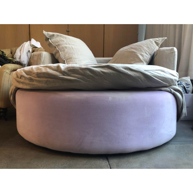Textile Custom Made Round Love Seat For Sale - Image 7 of 8