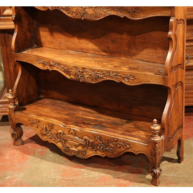 Late 19th Century 19th Century French Louis XV Carved Walnut Estanier Shelf For Sale - Image 5 of 10
