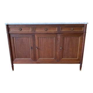 Louis XVI Style Marble Top Buffet Sideboard Credenza For Sale