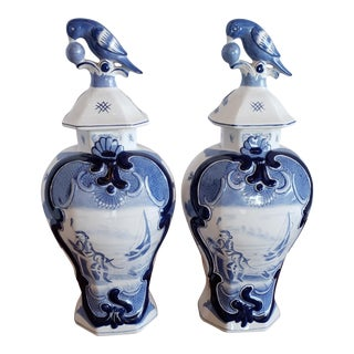 Blue and White Jars Jeanne Reeds With Lids - a Pair For Sale