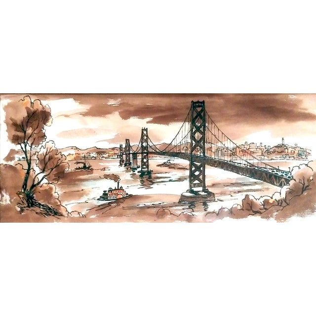 Vintage Golden Gate Bridge Watercolor Painting - Image 2 of 7