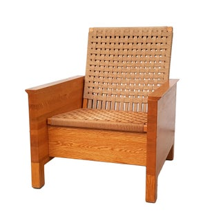Mid-Century Oak Butcher Block & Jute Rope Chair