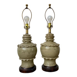 Glazed Celadon Lamps by Frederick Cooper , Pair For Sale