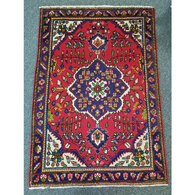 """Red 1950s Vintage Tabriz Persian Rug 3' 3"""" X 4' 8"""" For Sale - Image 8 of 8"""