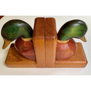 Mid Century Orange County Carving Hand-Carved Mallard Duck Solid Birch Book Ends - a Pair Preview