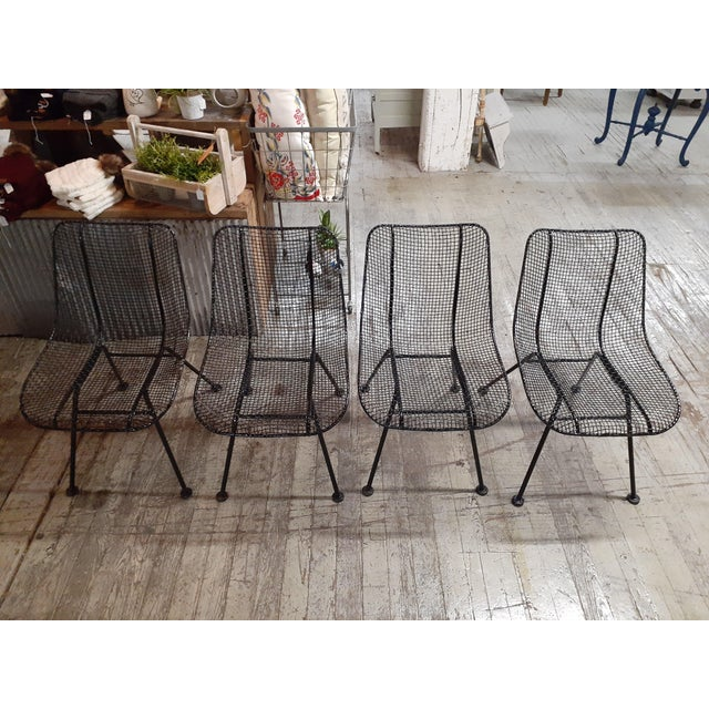 1960s 1960s Mid-Century Modern Outdoor Slate Dining Table With Four Sculptura Chairs by Russel Woodard - 5 Pieces For Sale - Image 5 of 9