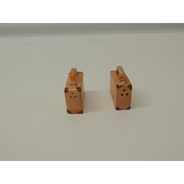 Boho Chic Pair of Orange and Brown Bisque Porcelain Trendy Handbags Salt and Pepper Shakers For Sale - Image 3 of 5