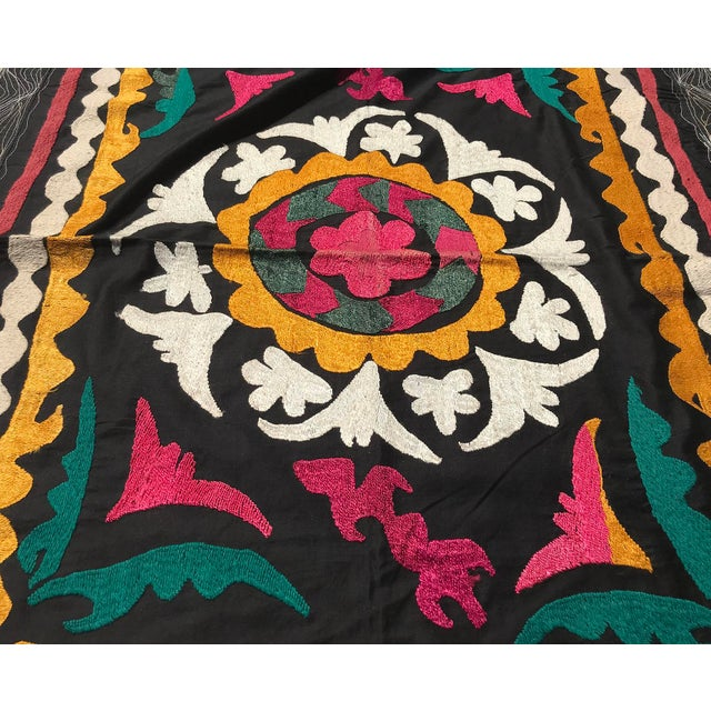 Folk Art Vintage Small Handmade Suzani Fabric Table Cover For Sale - Image 3 of 7