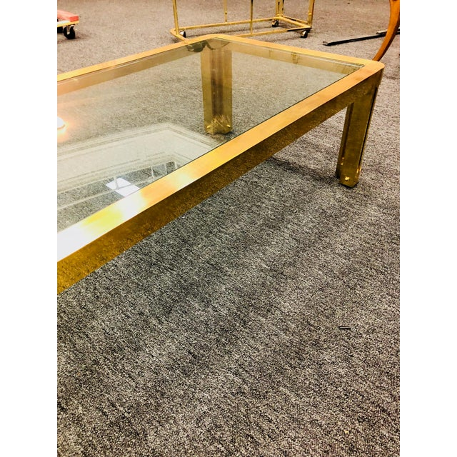 1970s Italian Brass Coffee Table With Great Design For Sale - Image 10 of 11