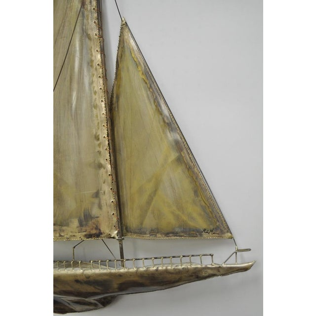Vintage RaMan Brutalist Mid Century Modern Clipper Ship Wall Sculpture Jere Style - Image 5 of 11