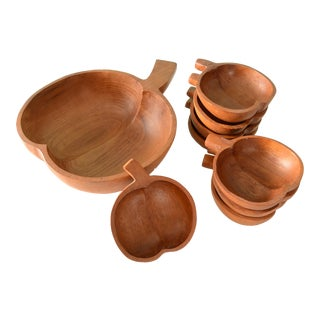 Vintage Large Wooden Apple Salad Bowl With 8 Small Apple Bowls - 9 Pieces For Sale