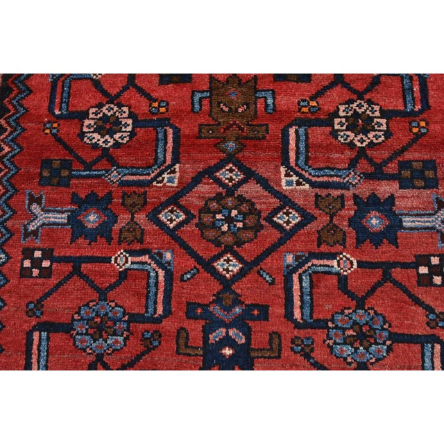 Red Vintage Persian Hamadan Runner - 4'2'' X 10' For Sale - Image 8 of 13