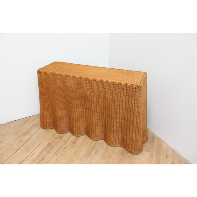 Vintage Trompe l'Oeil Wicker Draped Console Table For Sale - Image 10 of 11