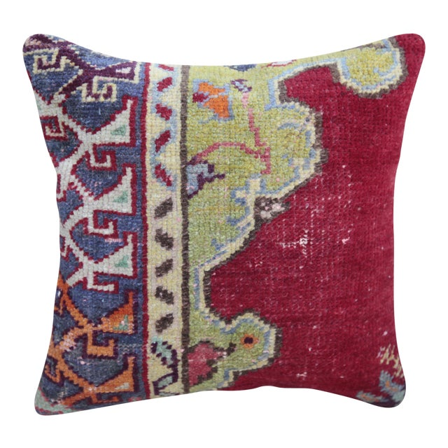 Vintage Turkish Red Kilim Throw Pillow For Sale