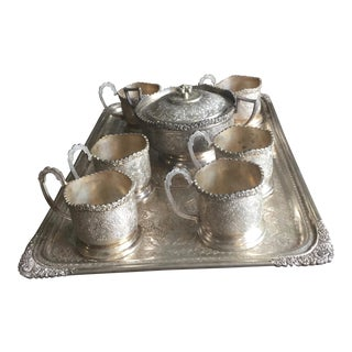 Persian Silver Plated Glass Holder Tea Set with Tray For Sale