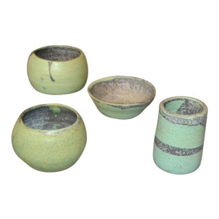 Vintage Handcrafted Aztec Green and Gray Pottery Bowls / Vessel - Set of 4 For Sale