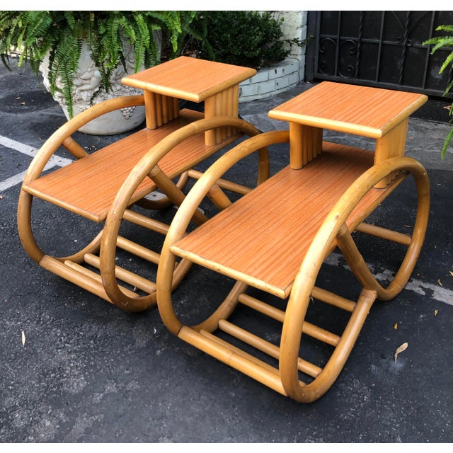 1950's Bent Rattan Bamboo Side Table Nightstands - a Pair For Sale In Los Angeles - Image 6 of 6