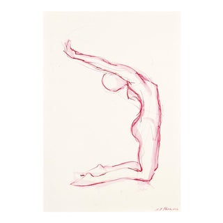 Pink Kneeling Nude Watercolor Drawing