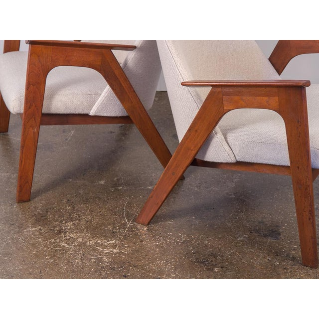 White Spectacular American Walnut Armchairs- A Pair For Sale - Image 8 of 11