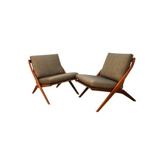 Mid Century Modern Folke Ohlsson Dux Scissor Lounge Chairs Pair For Sale