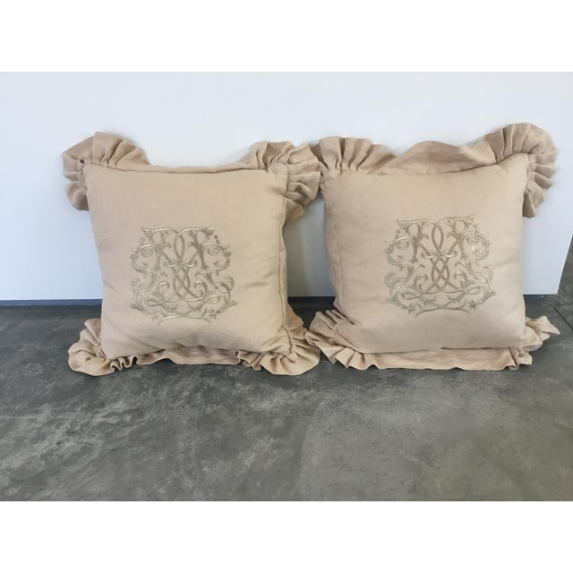 Gold Embroidered Linen Pillows - a Pair For Sale - Image 8 of 8