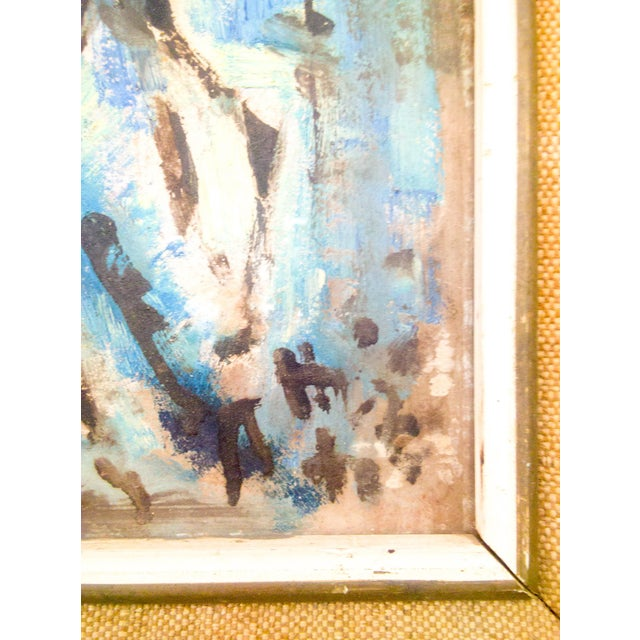 Wonderful Oil on Board by Belgium Artist. Original Mid-Century wood and Burlap frame. The subtle hues mixed with bold...