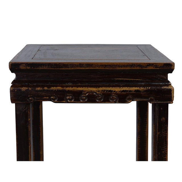 Black Antique Chinese Carved Official Arm Chairs & Tea Table - Set of 3 For Sale - Image 8 of 13