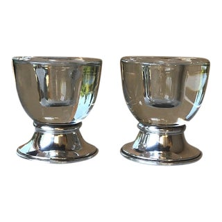 Mid 20th Century Sterling Silver & Crystal Candle Holders - a Pair For Sale