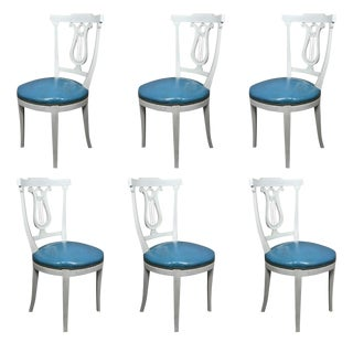 Neoclassic Style Painted Dining Chairs - Set of 6 For Sale