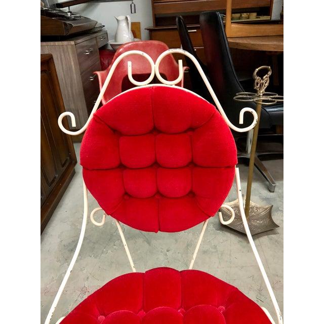 Hollywood Regency Vintage Teena Original Hollywood Regency Red Velvet Vanity Chair For Sale - Image 3 of 12