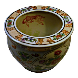 Vintage Chinese Porcelain Fish Bowl Planter For Sale