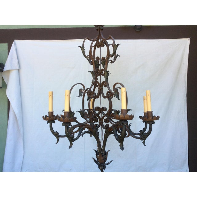 French Country Antique Scrolling Iron Chandelier For Sale - Image 3 of 11