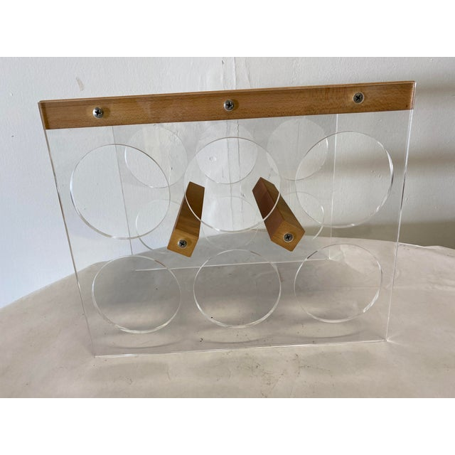 Mid-Century Modern Mid-Century Lucite and Butcher Block Wine Holder and Cheese Board For Sale - Image 3 of 8