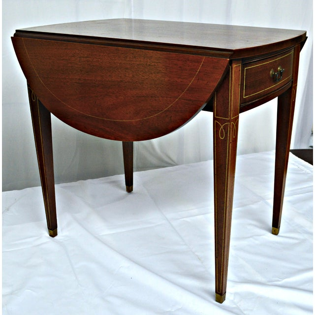 Hickory Chair Co. Oval Wood Side Table with Wings For Sale - Image 5 of 11