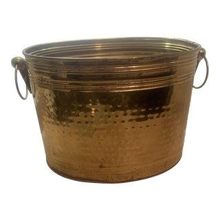Vintage Hammered Oblong Brass Planter With Handles For Sale