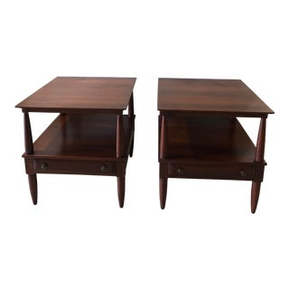1950's Willett Transitional Solid Cherry End Tables - a Pair For Sale