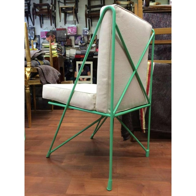 1950s Raoul Guys Rare Set of Four Aqua Metal Chairs, Newly Recovered in Canvas Cloth For Sale - Image 5 of 8