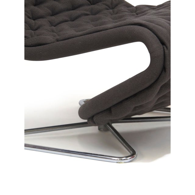 Chrome Verner Panton High Back Lounge Chair in Grey Wool For Sale - Image 7 of 9