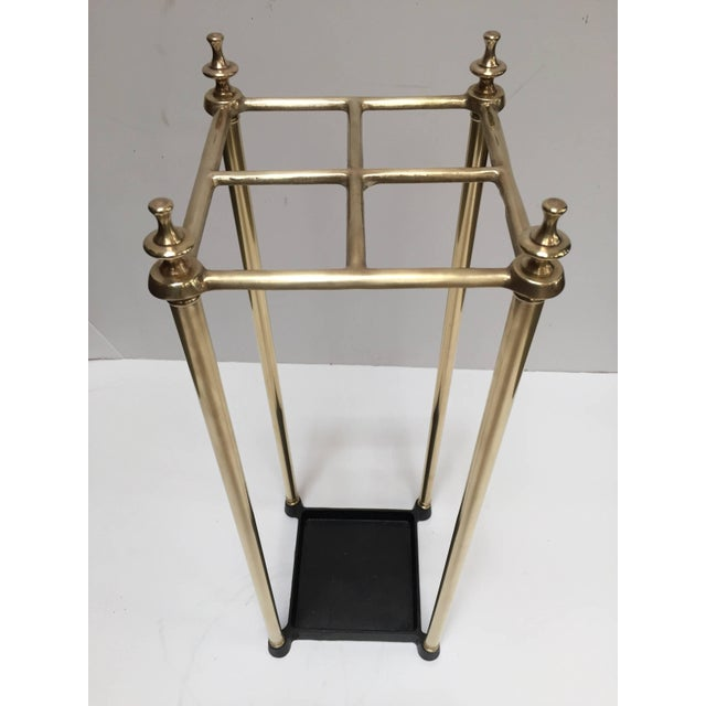Victorian Polished Brass and Cast Iron Umbrella Stand Valet For Sale - Image 9 of 9