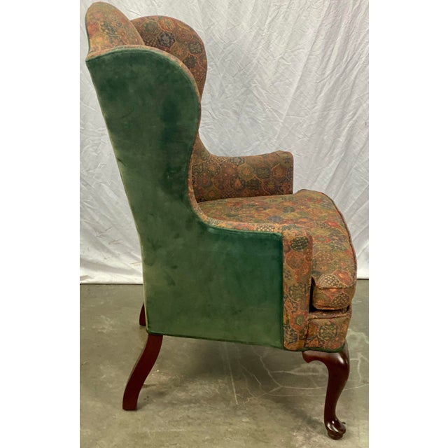 Vintage Mahogany Frame Chippendale Style Upholstered Wingback Chair For Sale In Greensboro - Image 6 of 11