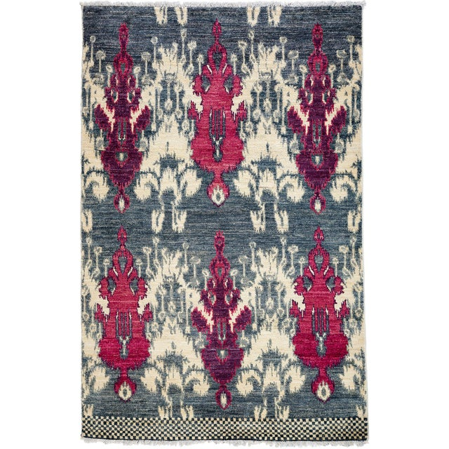 """Contemporary Ikat Hand Knotted Rug - 4' 7""""x 7' For Sale - Image 4 of 4"""