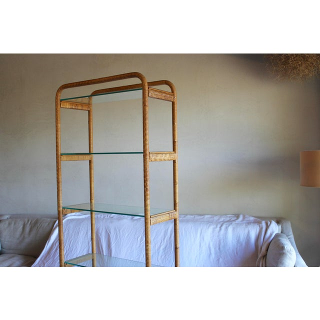 1970s Vintage Milo Baughman Style Italian Rattan Wrapped Cane Bookcase Etagere Wall Unit For Sale - Image 11 of 13