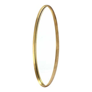 Mid Century Modern Gold Giltwood Oval Mirror For Sale