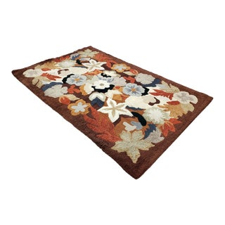 Mid Century Modern 1960's Floral Motif Hand Knotted Wool Rug For Sale