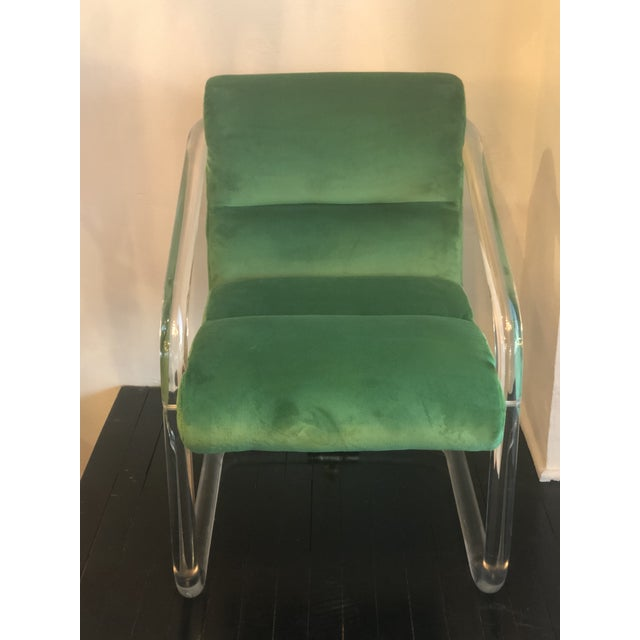 Vintage Signed Lion in Frost Hollywood Regency Lucite Brass Emerald Green Velvet Arm Chairs- A Pair For Sale - Image 11 of 13