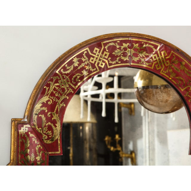 "Early 20th Century Queen Anne Reverse-Painted ""Verre Eglomise"" Mirror For Sale - Image 5 of 10"